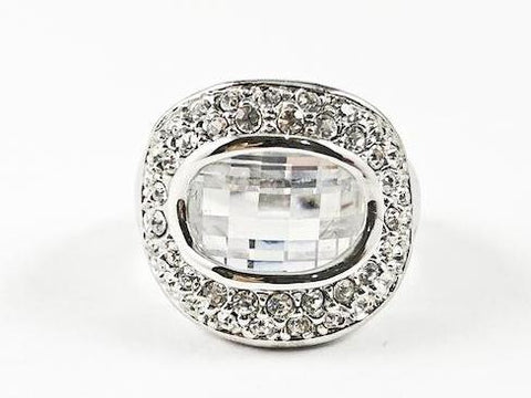 Unique Curved Round Shape With Center Rectangular Fine Cut CZ Brass Ring