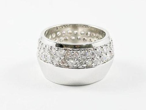 Fine Elegant Half Micro CZ Half Metallic Eternity Band Brass Ring