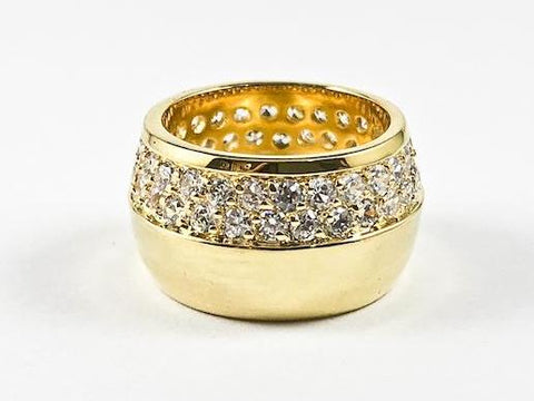 Fine Elegant Half Micro CZ Half Metallic Gold Tone Eternity Band Brass Ring
