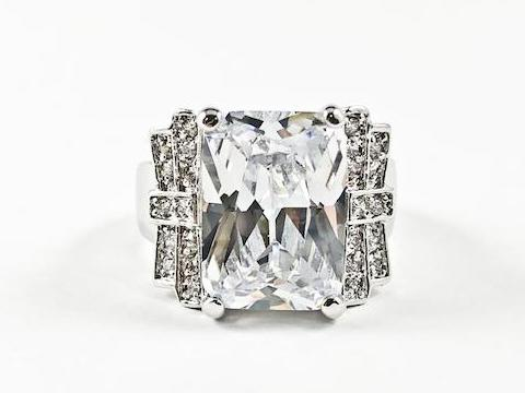Beautiful Center Rectangle Cut CZ With Layered Design Style Brass Ring