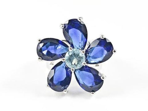 Beautiful Unique Swirl Flower Petal Sapphire Color CZ Brass Ring