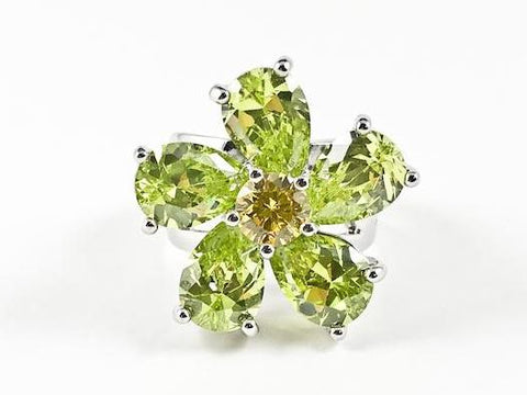 Beautiful Unique Swirl Flower Petal Light Green Color CZ Brass Ring