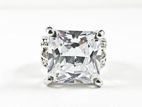 Classic Fine Large Square Cut Center Prong Set CZ Brass Ring