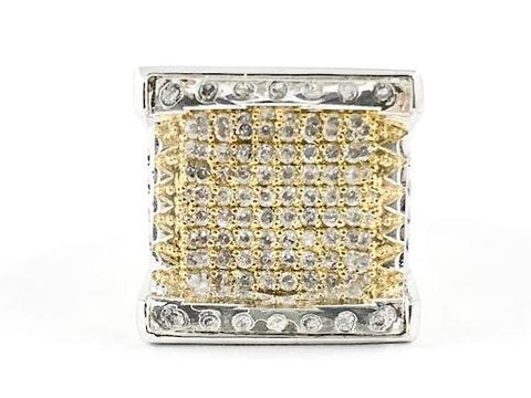 Nice Unique Square Shape  Glass Top Design Gold Tone Micro CZ Setting Brass Ring