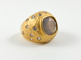 Yellow Gold Dome Shaped Ring With Pink CZ Center Stone
