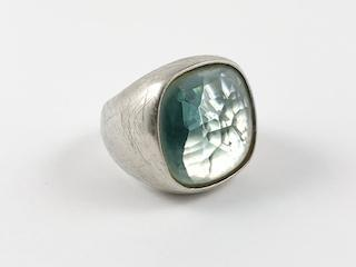 Squared Centered Aquamarine Color Stone Brass Ring