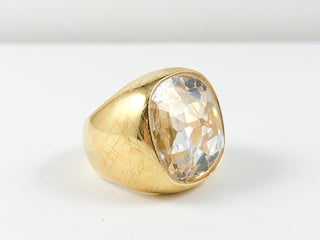 Squared Centered Stone Yellow Gold Brass Ring