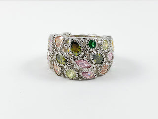 Multi-Color Variety Shaped Stones Unique Band Ring