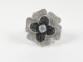 Large Rose Petal Black & Clear Stone Ring