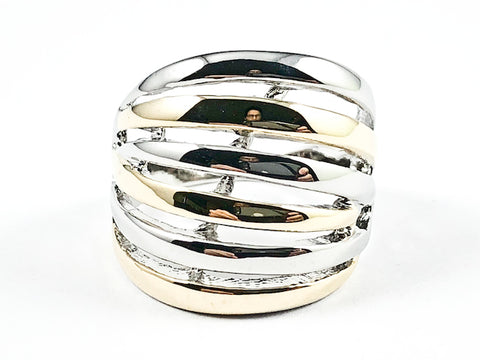 Modern Multi Row Shiny Metallic Two Tone Style Brass Ring