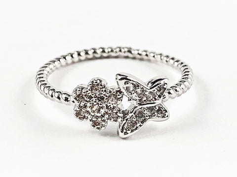 Cute Dainty Butterfly & Floral CZ Ball Beads Brass Ring