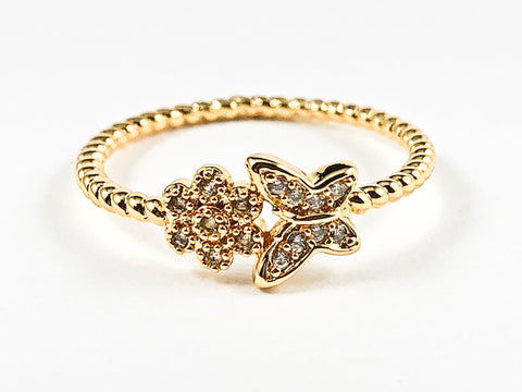 Cute Dainty Butterfly & Floral CZ Ball Beads Gold Tone Brass Ring