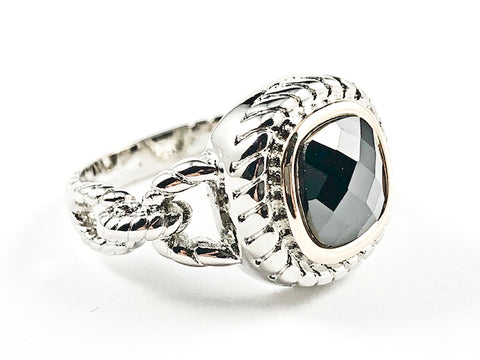 Unique Textured Link Style Band With Center Square Shape Black Color CZ Brass Ring