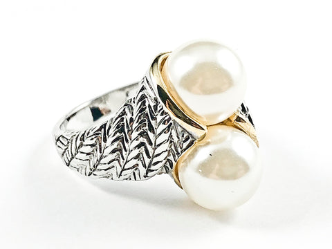 Beautiful Duo Pearl Crossover Style Textured Band Brass Ring