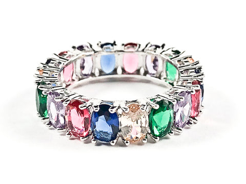 Elegant Multi Color Oval Shape CZ Eternity Brass Band Ring