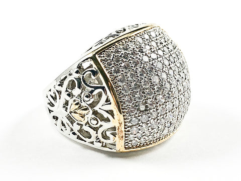 Beautiful Micro Pave Style Rectangle Shape With Vintage Design Side Band Two Tone Brass Ring