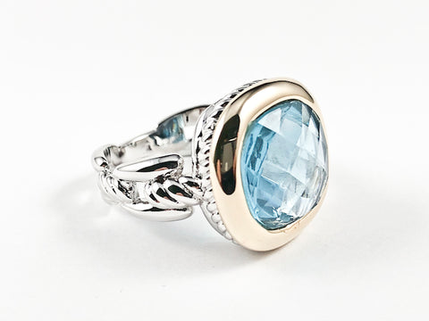 Modern Square Shape Center Aquamarine Color CZ Gold Tone Frame Wire Band Texture Brass Ring