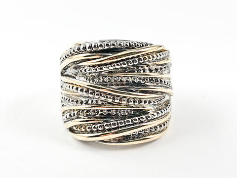 Beautiful Unique Textured & Layered Design Lines Pattern Two Tone Brass Ring