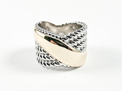 Modern Wire Texture With Shiny Metallic Thick Two Tone Crossover Style Brass Band Ring