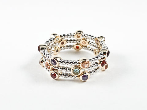 Beautiful Textured Multi Color 3 Piece Set Eternity Brass Rings