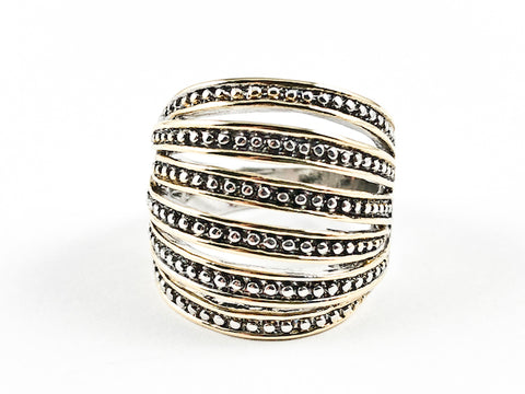 Beautiful Multi Row Micro Bead Open Two Tone Style Brass Ring