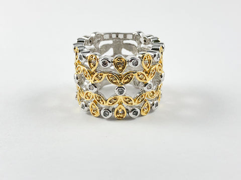 Modern & Cute Floral Yellow Gold Band Ring