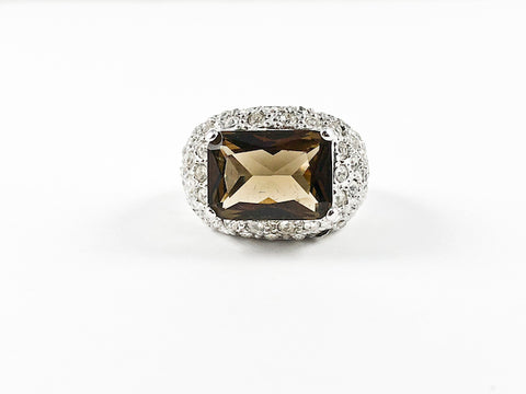 Classic Brown Topaz Rectangular Center Stone Pave Brass Ring