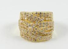 Fine Elegant Design CZ Yellow Gold Tone Brass Ring