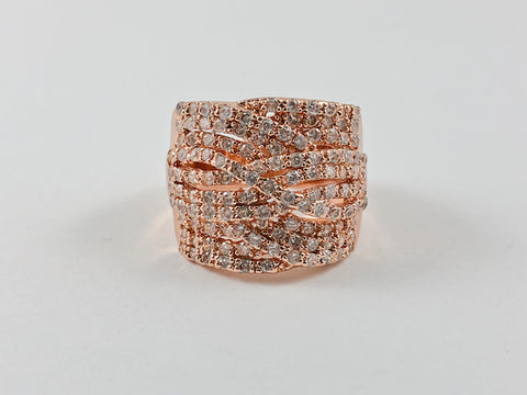 Fine Elegant Design CZ Rose Gold Ring