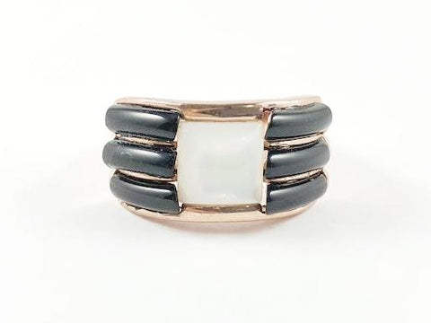 Modern Rose Gold Black Stripes Brass Ring