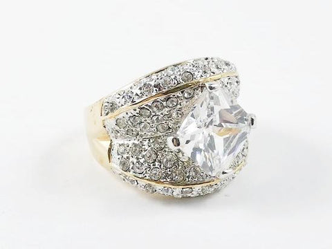 Classic Fine Center Stone With CZ Brass Rings