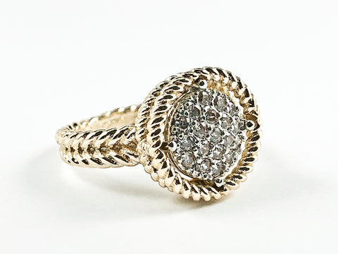 Elegant Textured Round Shape Center Micro Pave Style CZ Gold Tone Brass Ring