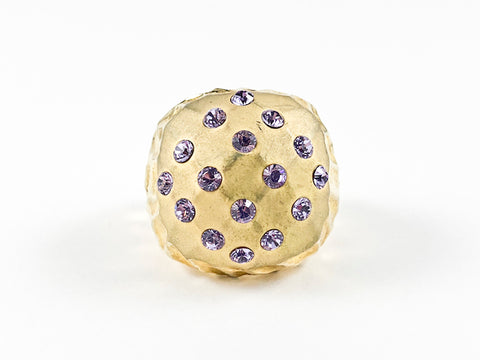 Modern Fun Squared Dome Shaped Yellow Gold Purple CZ Brass Ring