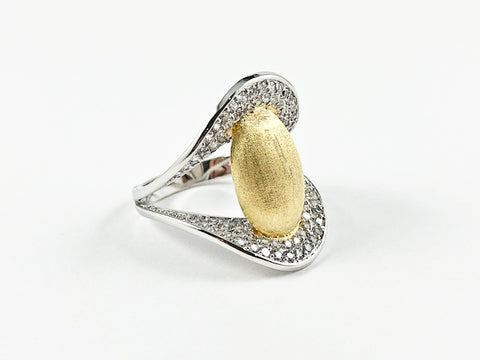 Classic Elegant Bean Design V Setting Brass Ring