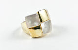 Modern Square Pattern Mother Of Pearl Yellow Gold Brass Ring