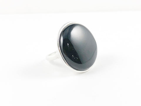 Classic Casual Round Black Onyx Brass Ring