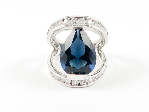 Classic Sapphire Pear Shape V Setting Brass Ring