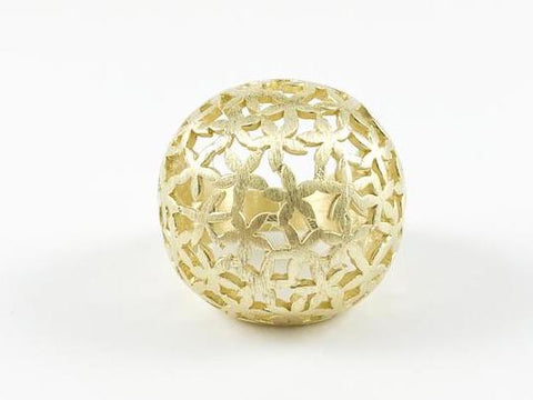Floral Gold Brushed Ball Shape Brass Ring