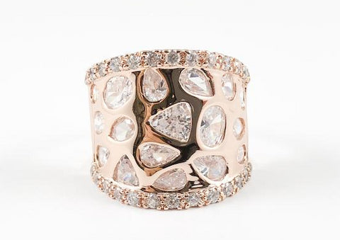 Unique Modern Multi Stone Pattern Rose Gold Brass Ring