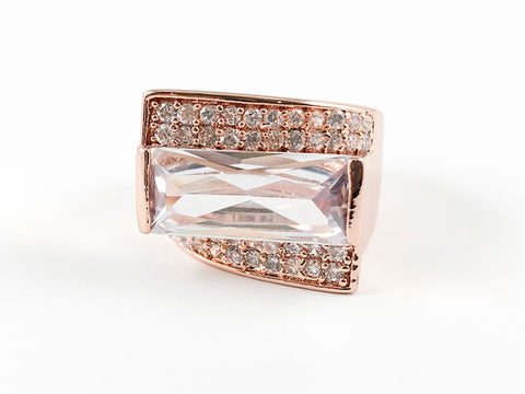 3 Layer Irregular Shaped Rose Gold Brass Ring