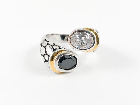 Elegant Twisted 2 Tone Black & White Brass Ring