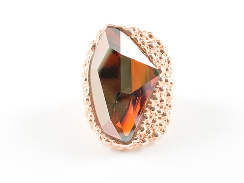 Modern Irregular Brown Stone Caviar Design Rose Gold Brass Ring