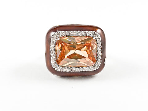 Elegant Unique Topaz Rectangular Brown Coated Brass Ring