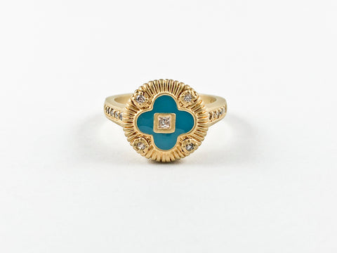 Classic Vintage Dainty Turquoise Flower Gold Brushed Brass Ring