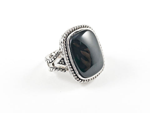 Elegant Casual Black Onyx Cable Brass Ring