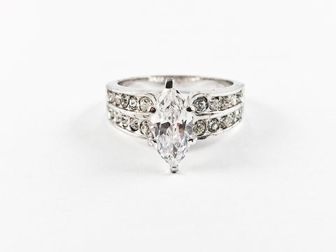 Classic Delicate Marquise Half Eternity Brass Ring