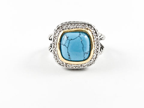 Elegant Turquoise Stone 2-Tone Cable Brass Ring