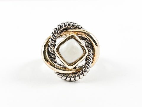 Modern Unique Braided Wire Circular Pattern Two Tone Mother Of Pearl Brass Ring