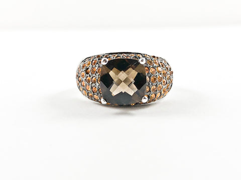 Modern Stylish Classic Colorful Center CZ Brass Ring