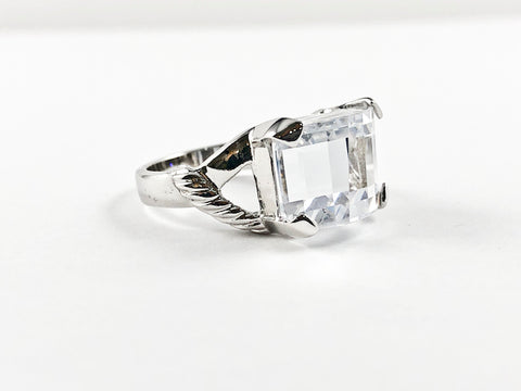 Modern Elegant CZ Stone Cut Shape Brass Ring